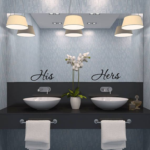 His And Hers His Hers Bathroom Wall Decor Bathroom Wall Decal Bathroom Decor Bathroom Wall A Trendy Bathroom Modern Bathrooms Interior Bathroom Decor