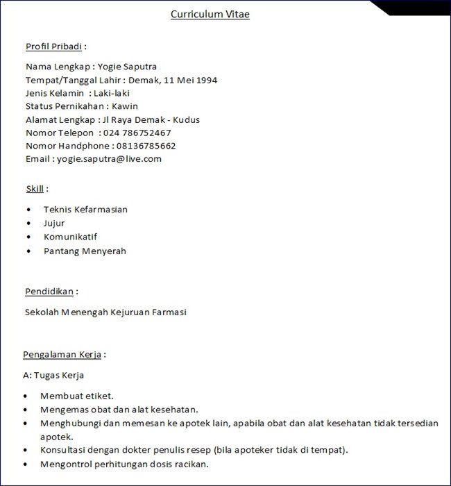 Contoh Cv Apoteker Di 2021 Apoteker Pendidikan Tanggal