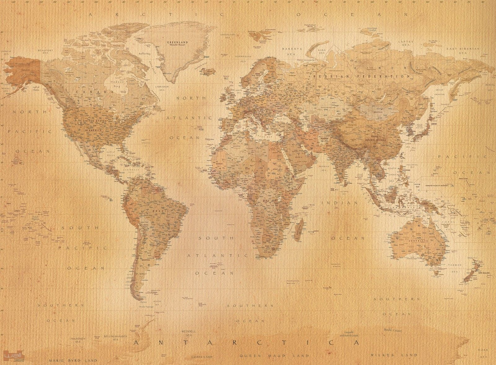 Old style vintage world map wallpaper wall mural 232m x 315m new old style vintage world map wallpaper wall mural 232m x 315m new free p gumiabroncs Gallery