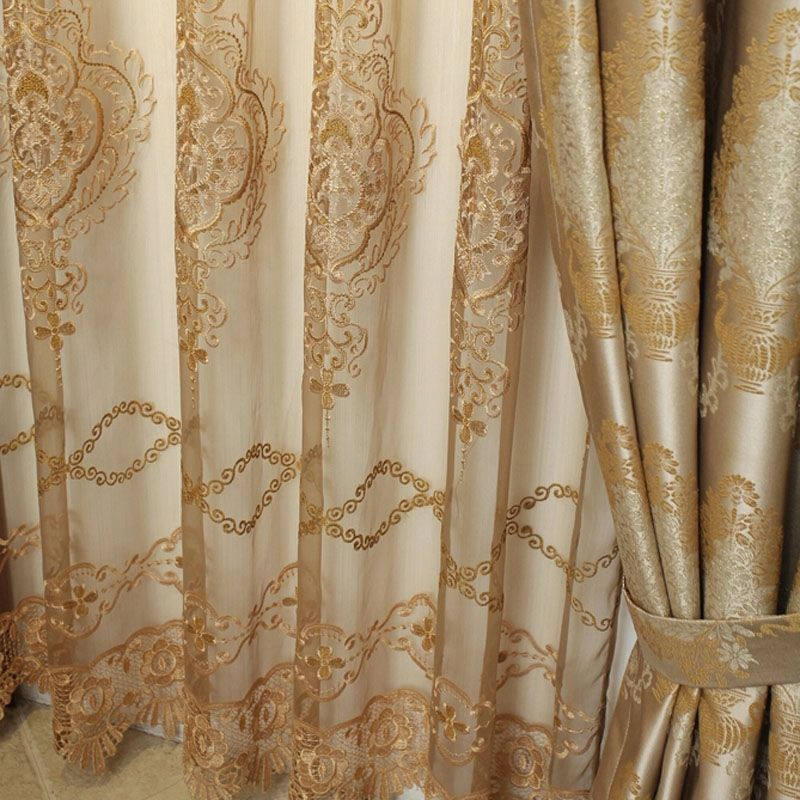 Elegant Jacquard Craft Faux Silk Gold Color Of Thick Blackout