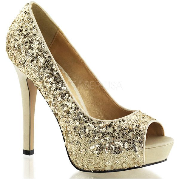 Gold Sequin Peep Toe Pump ($72) ❤ liked on Polyvore