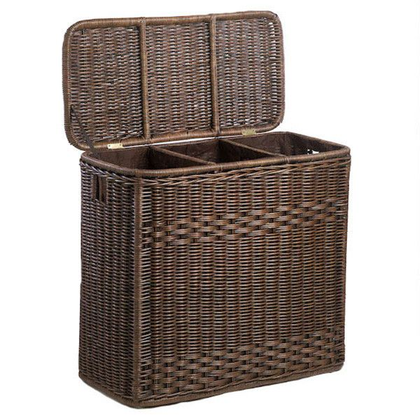Large Laundry Sorter 3Compartment Wicker Laundry Hamper  Laundry Hamper Hamper And Laundry