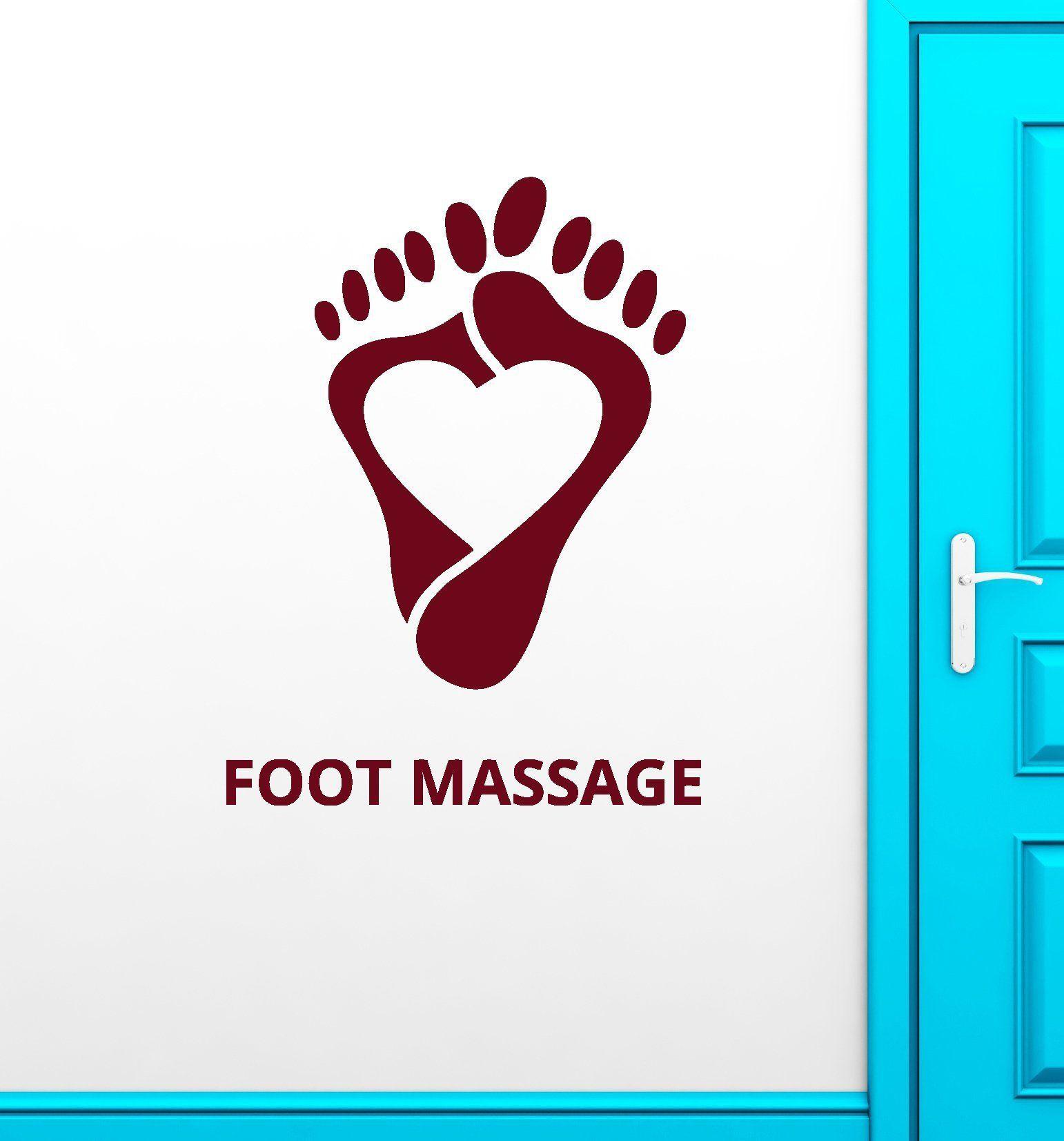 Vinyl Wall Decal Foot Massage Words Spa Center Logo Feet Heart Stickers 2152ig