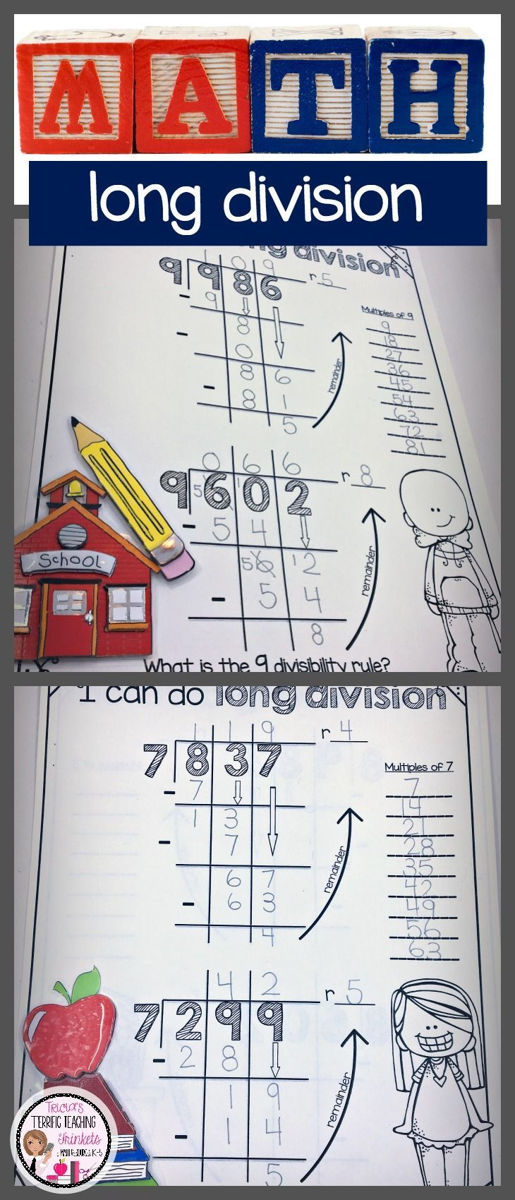 Long Division Worksheets Bundle | Long division, Division and Math