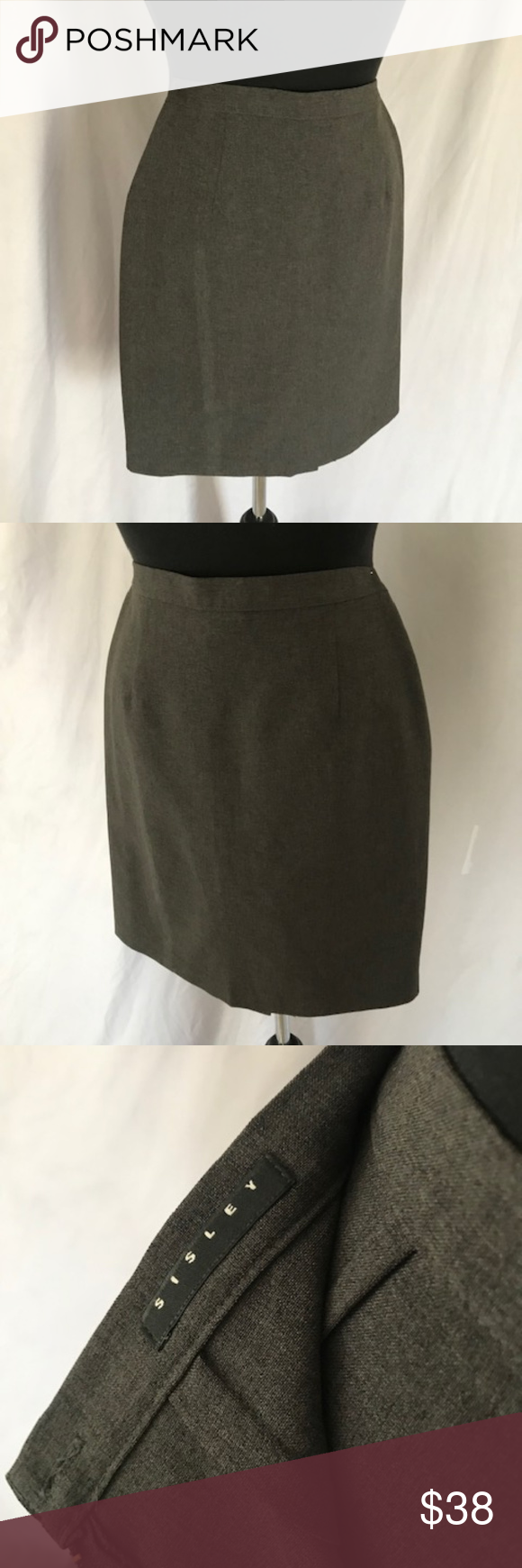 e8194531a4 Sisley Pencil Skirt 100% polyester gray pencil skirt. IT size 40. 26