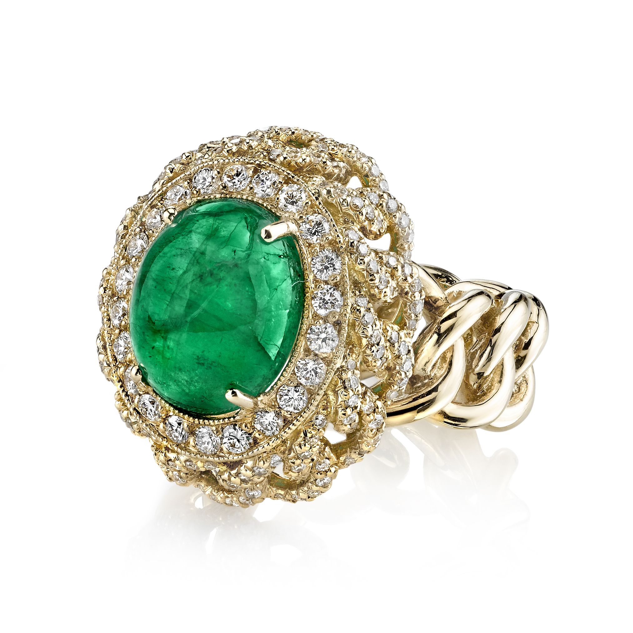 18k gold and diamond emerald chain ring by Erica Courtney®