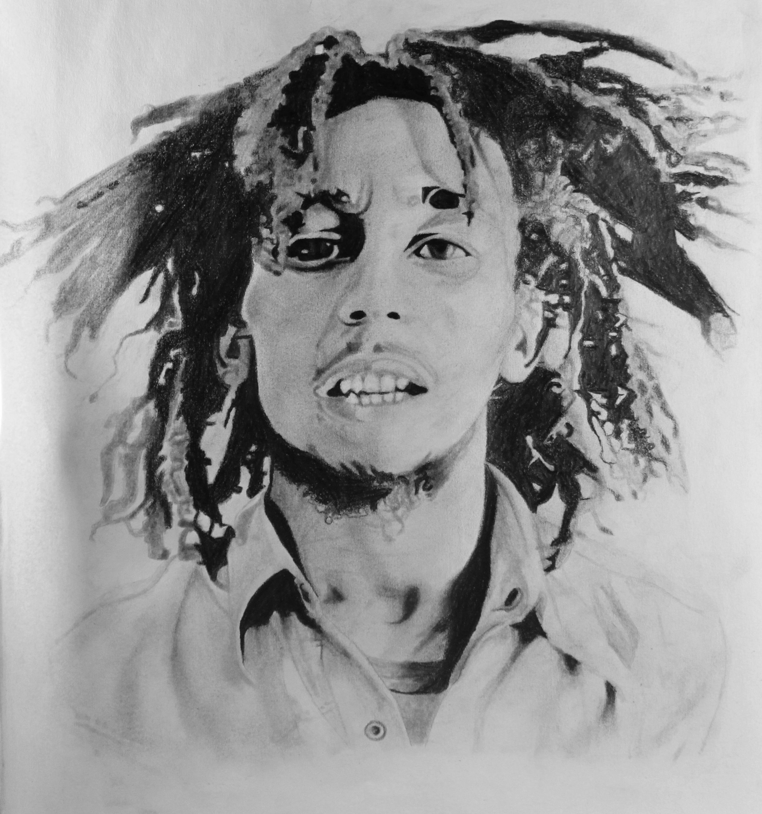 Bob marley drawing portrait realism pencil grayscale monochromatic dreads