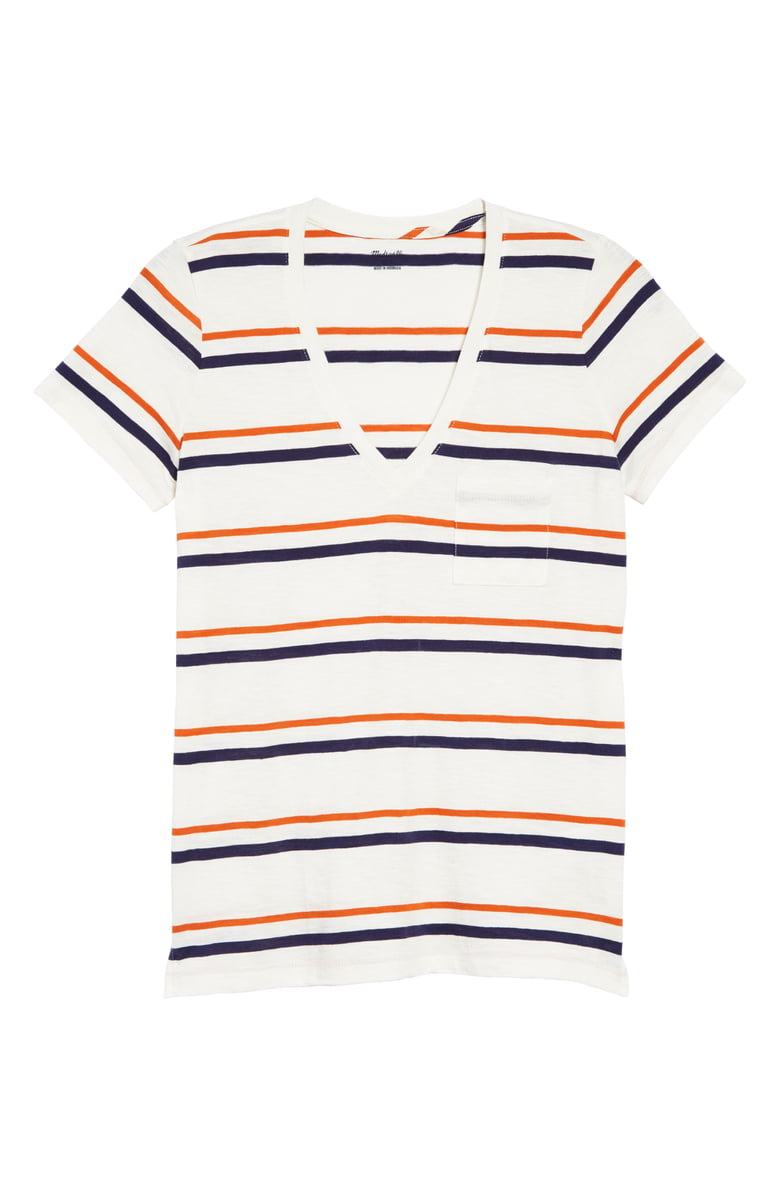 Madewell Smithly Stripe Whisper Cotton V Neck Pocket T Shirt Regular Plus Size Nordstrom Shirts Pocket Tshirt Striped Long Sleeve Tee