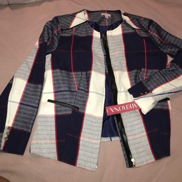 Fitted plaid zipper blazer, navy, red and cream Fitted Plaid zipper blazer, navy, red and cream Merona Jackets & Coats Blazers