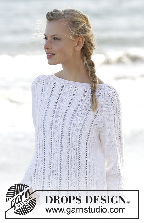 Knitted jumper with cables and raglan in DROPS Belle. Sizes S - XXXL ...