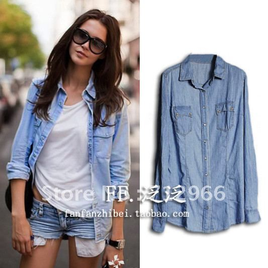 2012 Fashion women's water washed denim shirt long-sleeve shirt ...