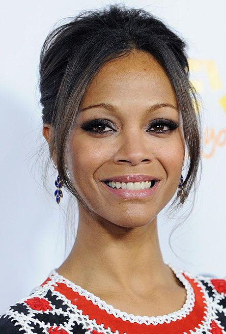 Brides 25 Wedding Hairstyles Inspired By Celebrities Zoe Saldana S Soft Updo Pee Frame And Delicate Features Lend Themselves To A