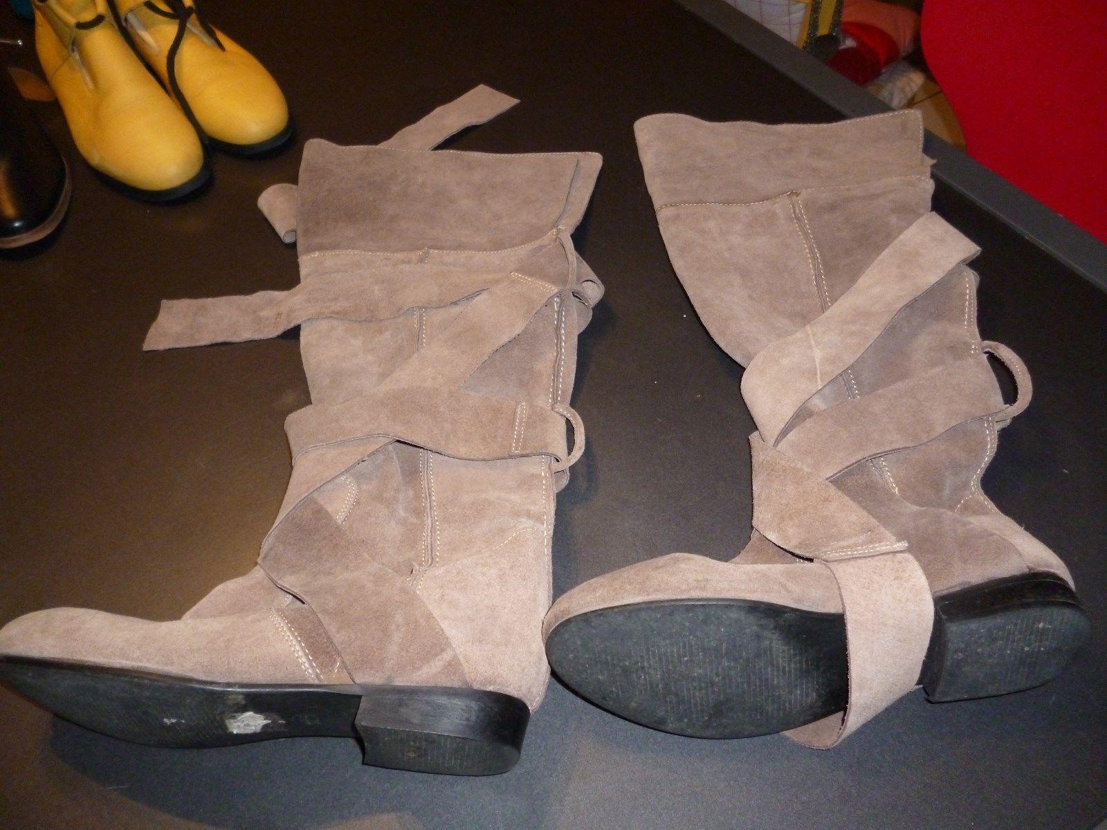 bottes rare daim beige bata lacets mollets qualité rares