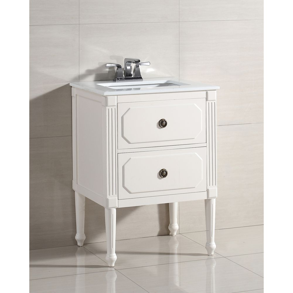 Dubois 24-inch Bath Vanity with White Quartz Marble Top - Overstock ...