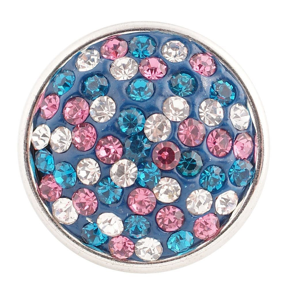 1 PC - 18MM Pink Blue Rhinestone Silver Tone Charm for Candy Snap Jewelry KC2707 CC0771