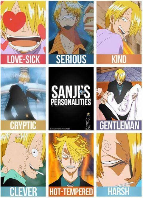 The many personalities of Sanji although we all know which one he uses the most