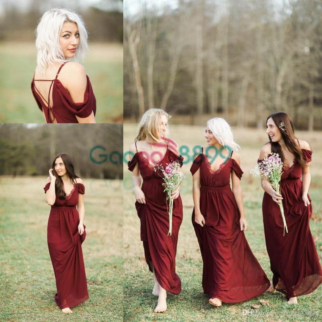 190653ff8403 Burgundy Lace Chiffon Country Boho Bridesmaid Dresses Cheap 2017 Modest Off  Shoulder Elegant Wine Red Junior Wedding Guest Bridesmaid Dress Chief  Bridesmaid ...
