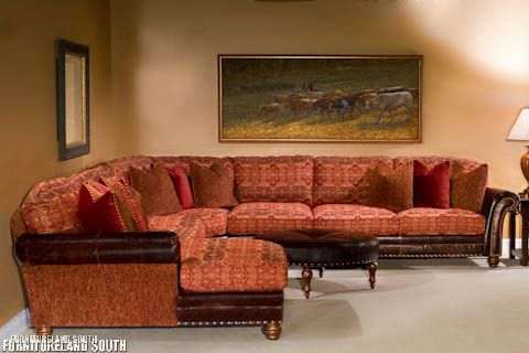 Leather Sectional Sofa Colorado Springs Seat Cushion Replacement King Hickory Katherine Leather/fabric   Bar ...