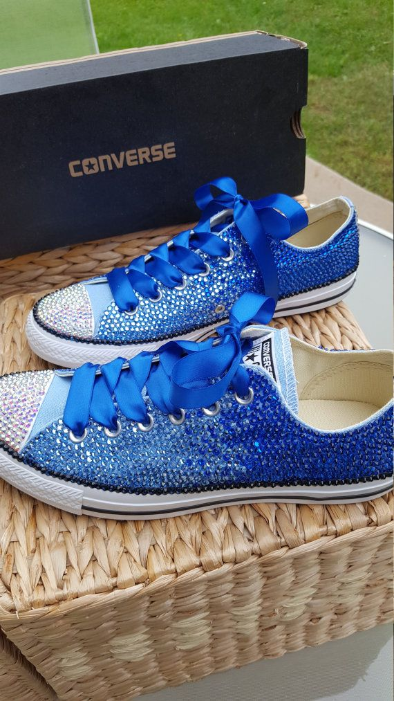 Something Blue Customized OMBRE Crystal Converse Chuck Taylor All Star Low Top Shoes - All Sizes and Colors