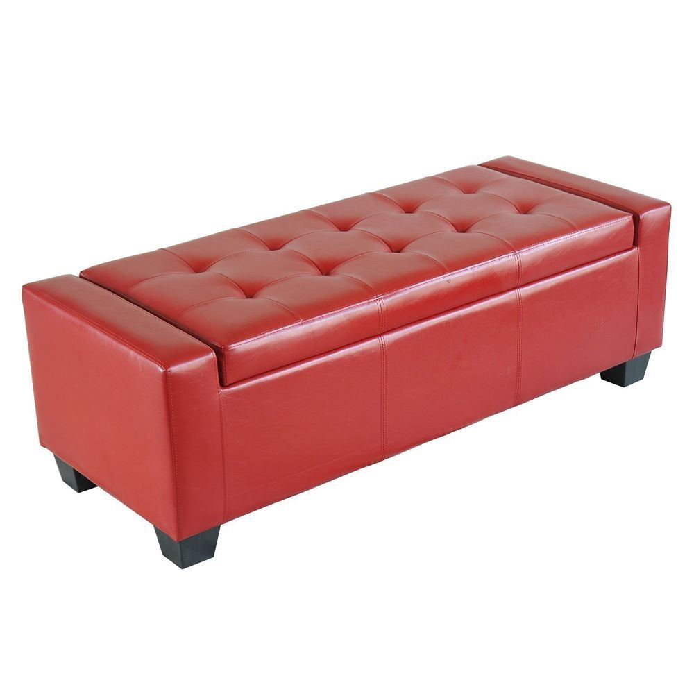 Storage Ottoman Red Faux Leather Bench Small Sofa Pouf Blanket Box  Comfortable