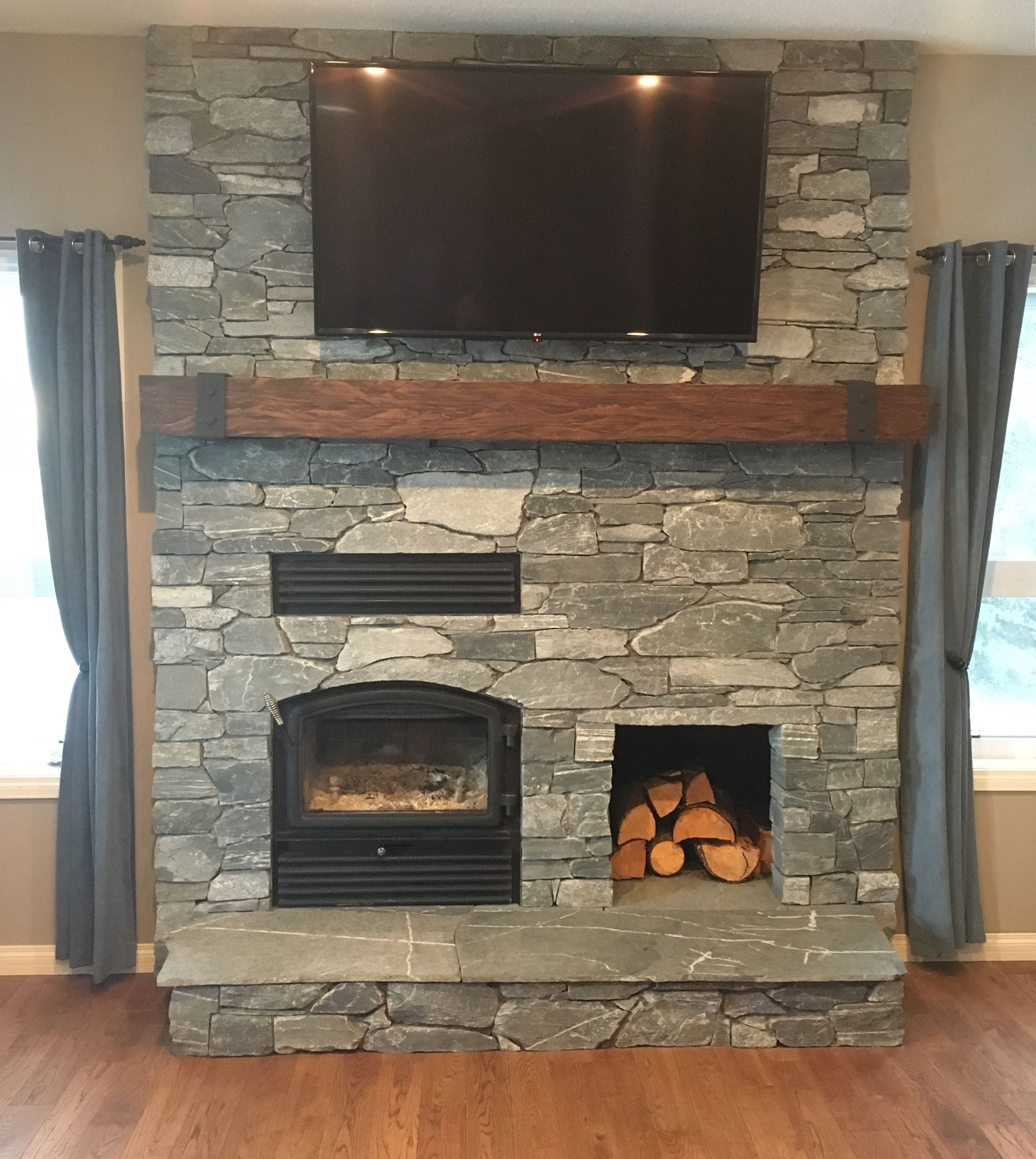 Stone Fireplace With Woodbox Home Decor Home Decor