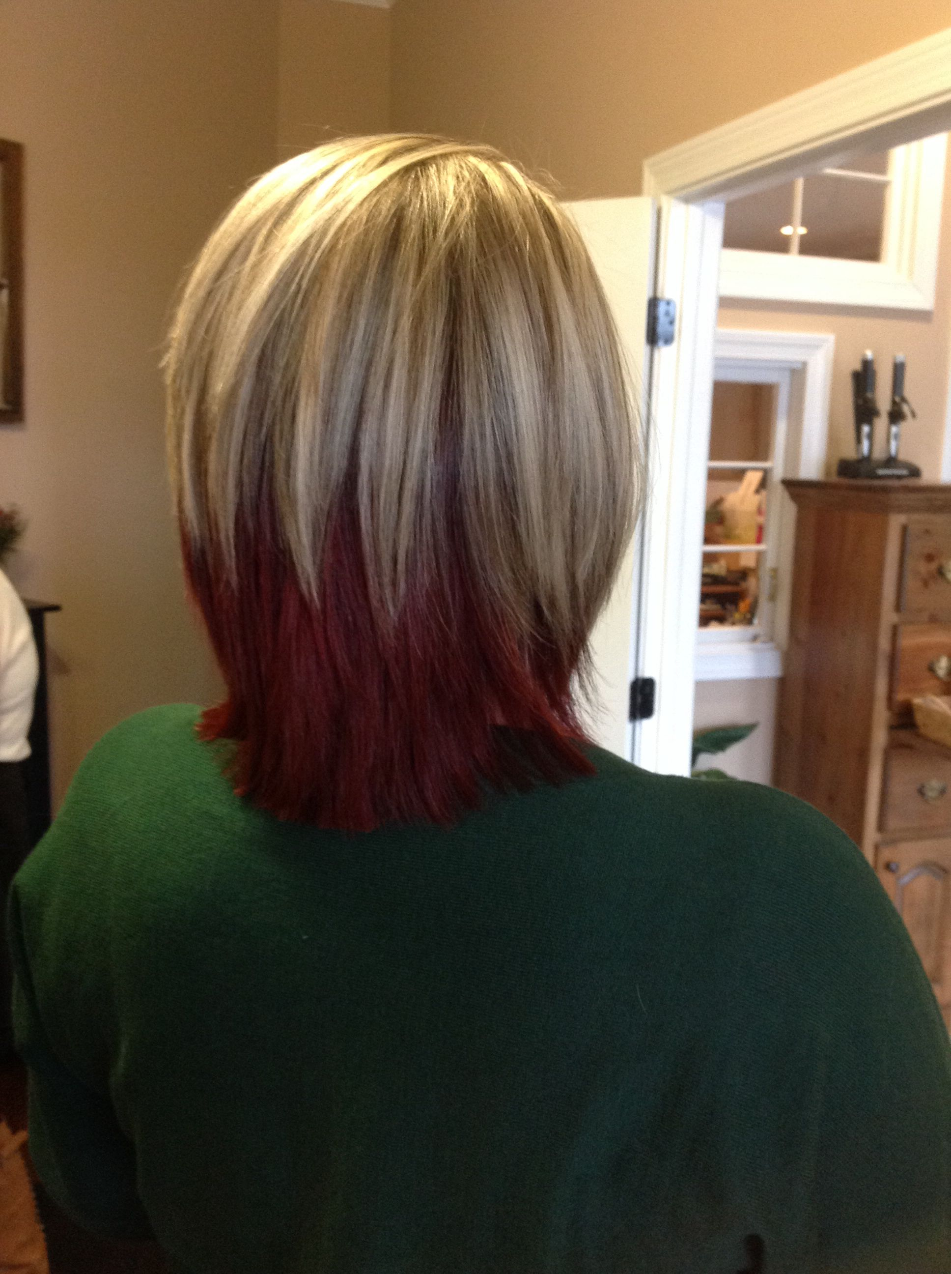 Pin By Spectra Hair Creations Daysp On Blonde Bombshell Red Hair Underneath Cute Hairstyles For Short Hair Hair Highlights