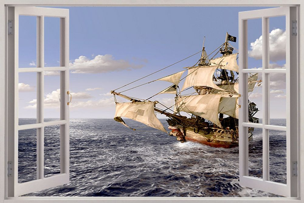 Huge 3D Window Pirate Ship Schooner View Wall Stickers Film Art Decal Wallpaper