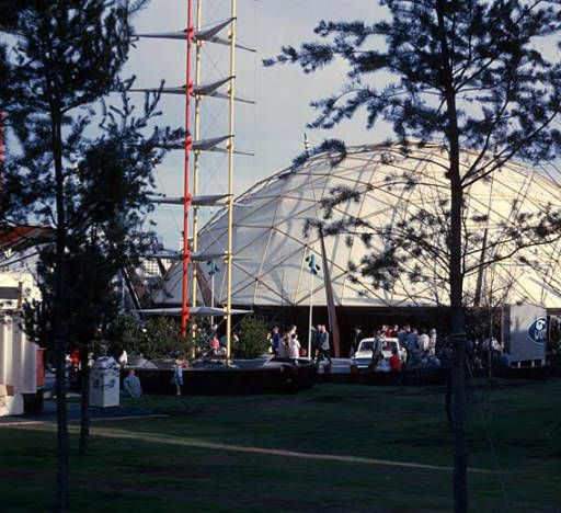 Ford Pavilion exterior, Seattle World's Fair, May, 1962 :: Seattle Photographs geodesic dome designed by TC Howard of Synergetics, Inc.
