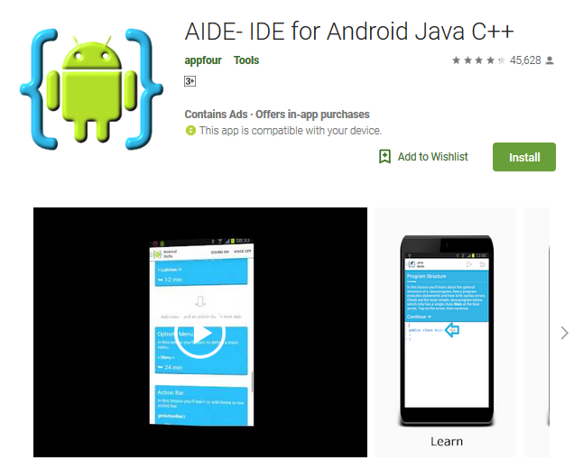 AIDE- IDE for Android Java C++ | Programming | Android apps, Android
