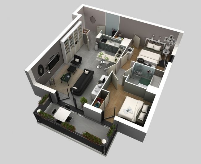 50 Plans 3D du0027appartement avec 2 chambres House, Tiny houses and