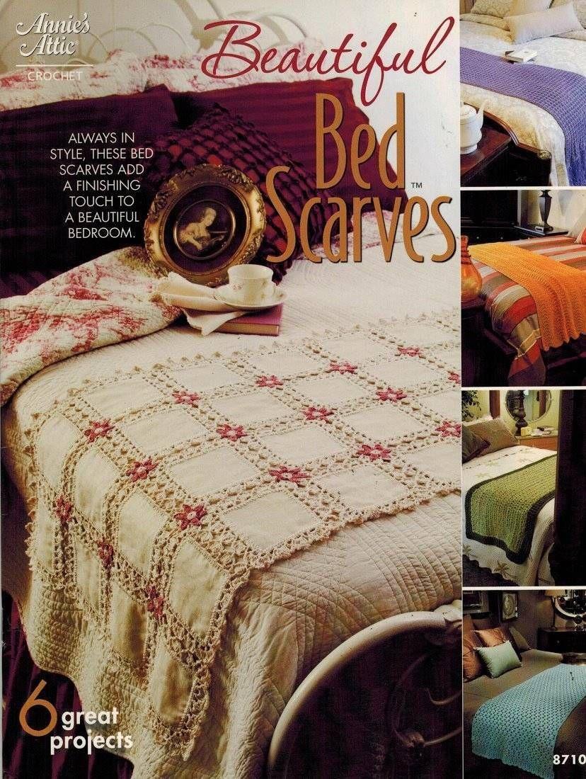 Beautiful Bed Scarves 6 Crochet PATTERN Dresser Scraf Table Runner ...