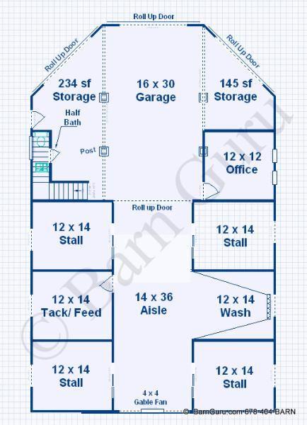 Barn Plans -4 Stall Horse Barn - Living Quarters Design ...