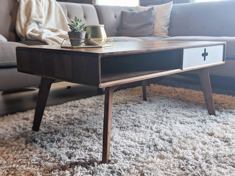 Modern Coffee Table In Solid Walnut Wood Mid Century Modern Style Scandinavian Bedroom Furniture Design Coffee Table Scandinavian Living Room Furniture