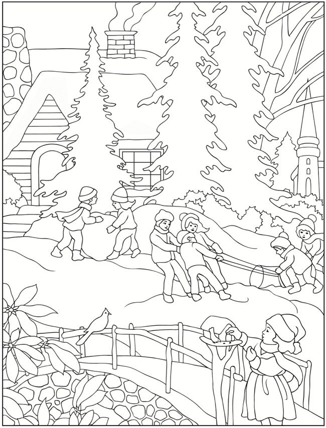January Winter Scene Coloring Page Coloring Pages Winter Coloring Pages Christmas Coloring Pages