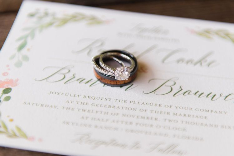 Blush Wedding Invitation Details With Diamond Engagement Ring And Bands