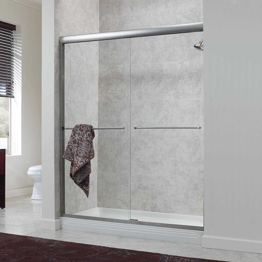 Foremost Cove 48 In X 72 In H Semi Framed Sliding Shower Door