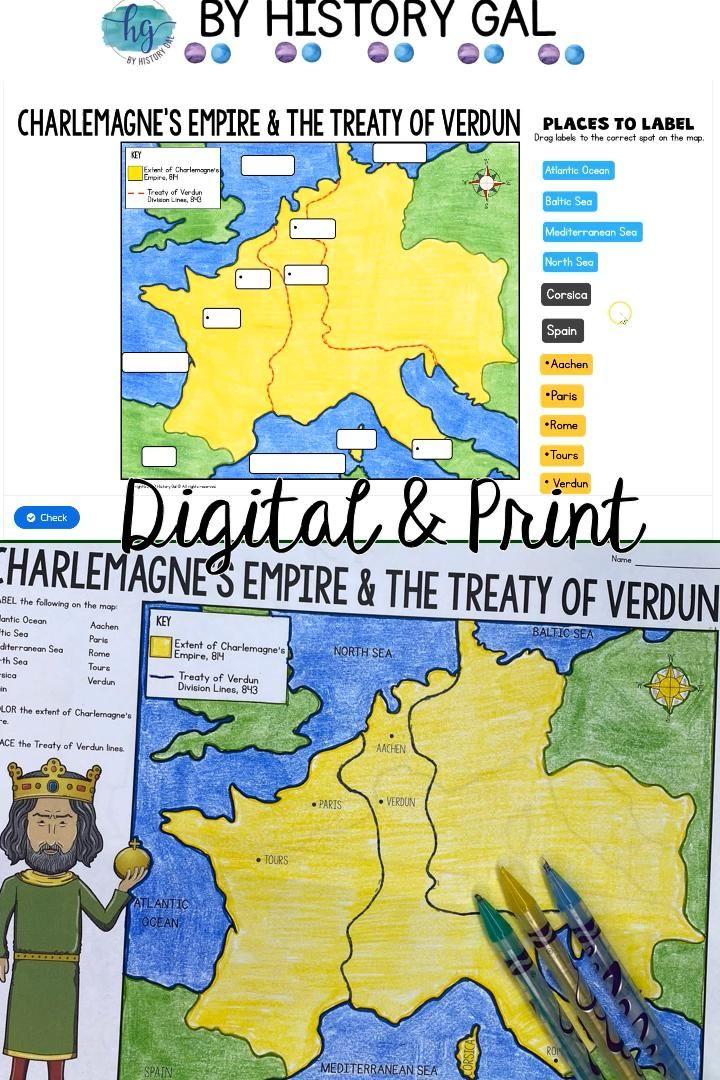 Empire Of Charlemagne And Treaty Of Verdun Map Activity Print And Digital Video Video Map Activities Verdun Interactive Activities