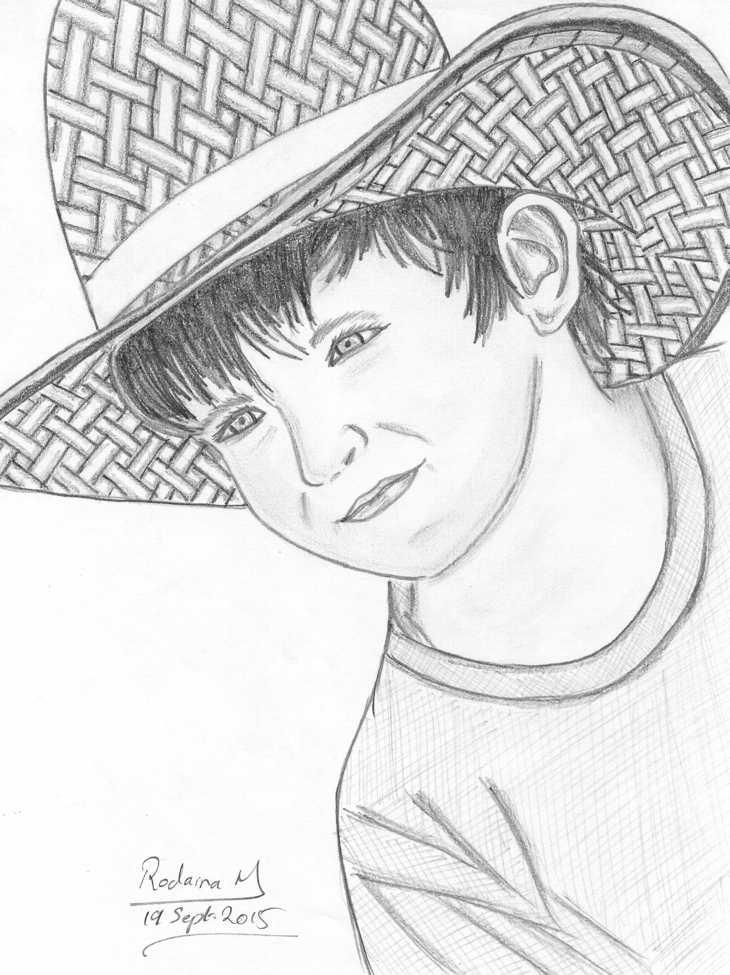 A boy with hat drawn in 2015 boy hat pencil sketch