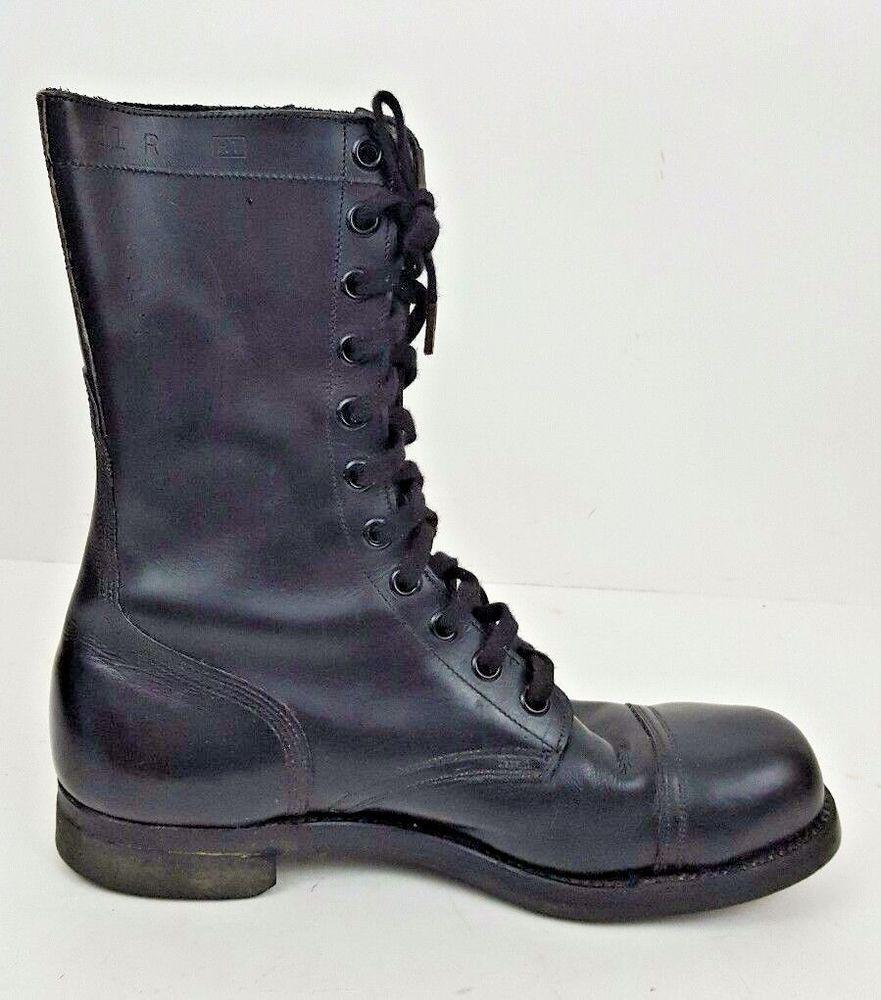 7e2c1f4bebc09 Vintage Vietnam PANCO Military Combat Black Leather Boots BF ...