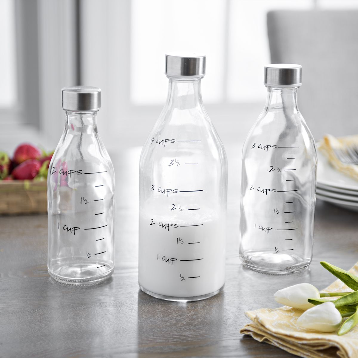 Measuring Milk Bottles, Set of 3 Kitchen utensils