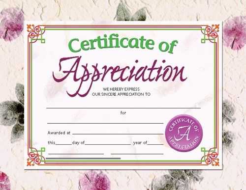 Printer-Compatible Certificates \ Awards, Certificate of - certificates of appreciation