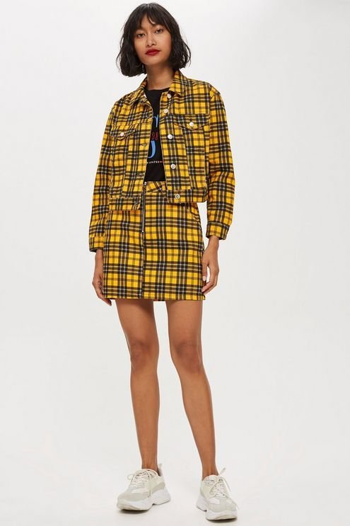 Yellow Check Denim Skirt