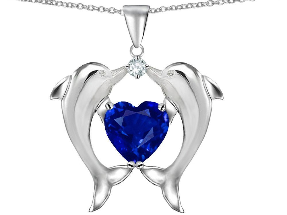 Star K Kissing Love Dolphins Pendant Necklace With 8mm Heart Shape Created Sapphire