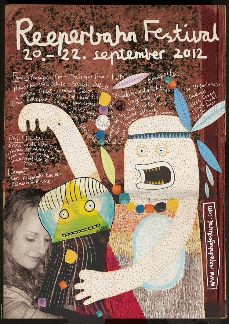 reeperbahn festival art poster reeperbahn festival, 2012, rocket + wink, art, monster, music, poster, typo, art, handmade