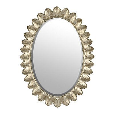 Antiqued Silver Oval Mirror