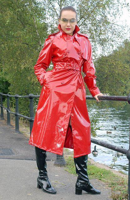 Shiny Red PVC Trench Coat Spy Princess 05 | Fashion | Pinterest ...