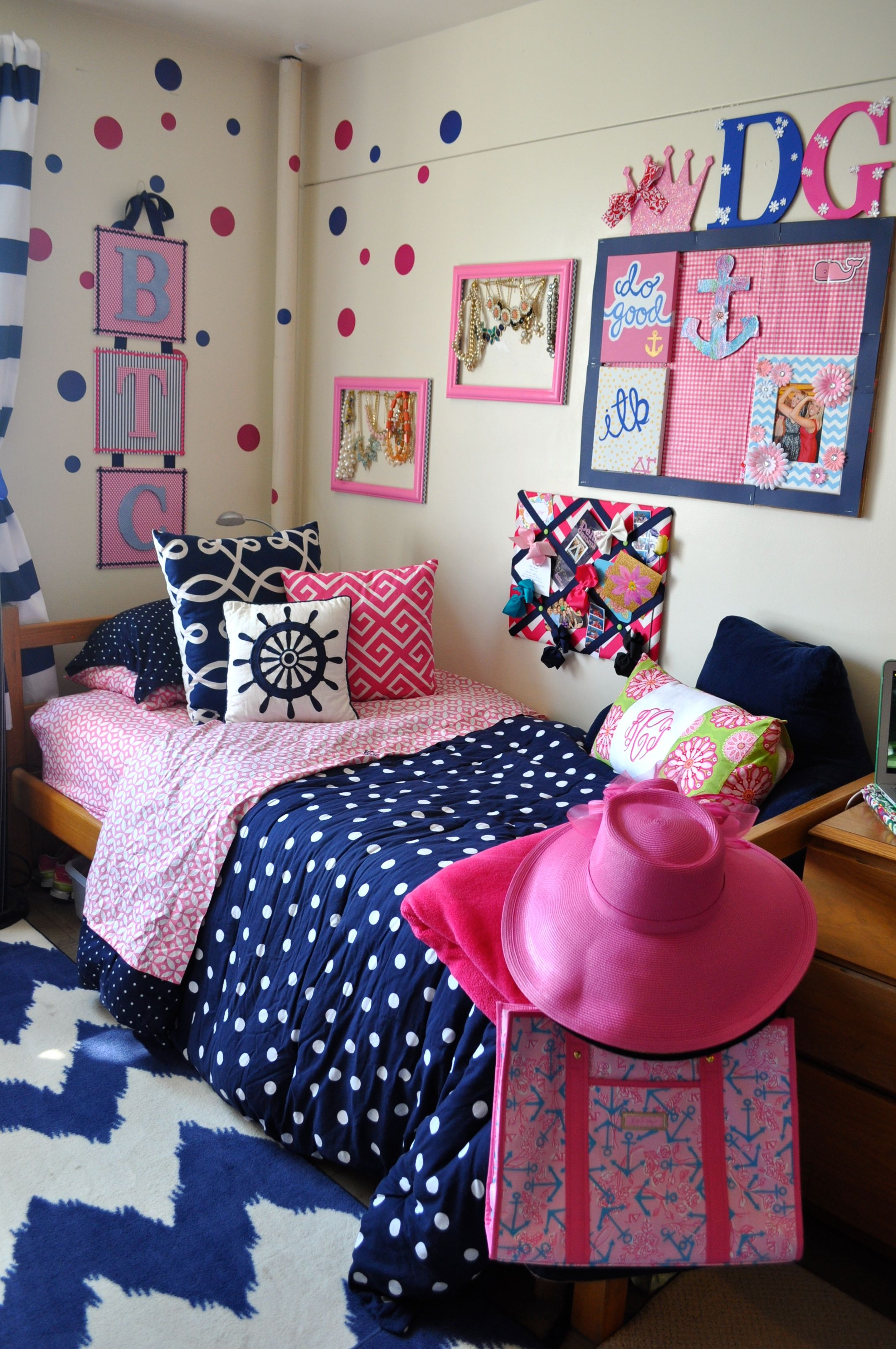 Pink And Navy Dorm Rooms Room Cute Kid