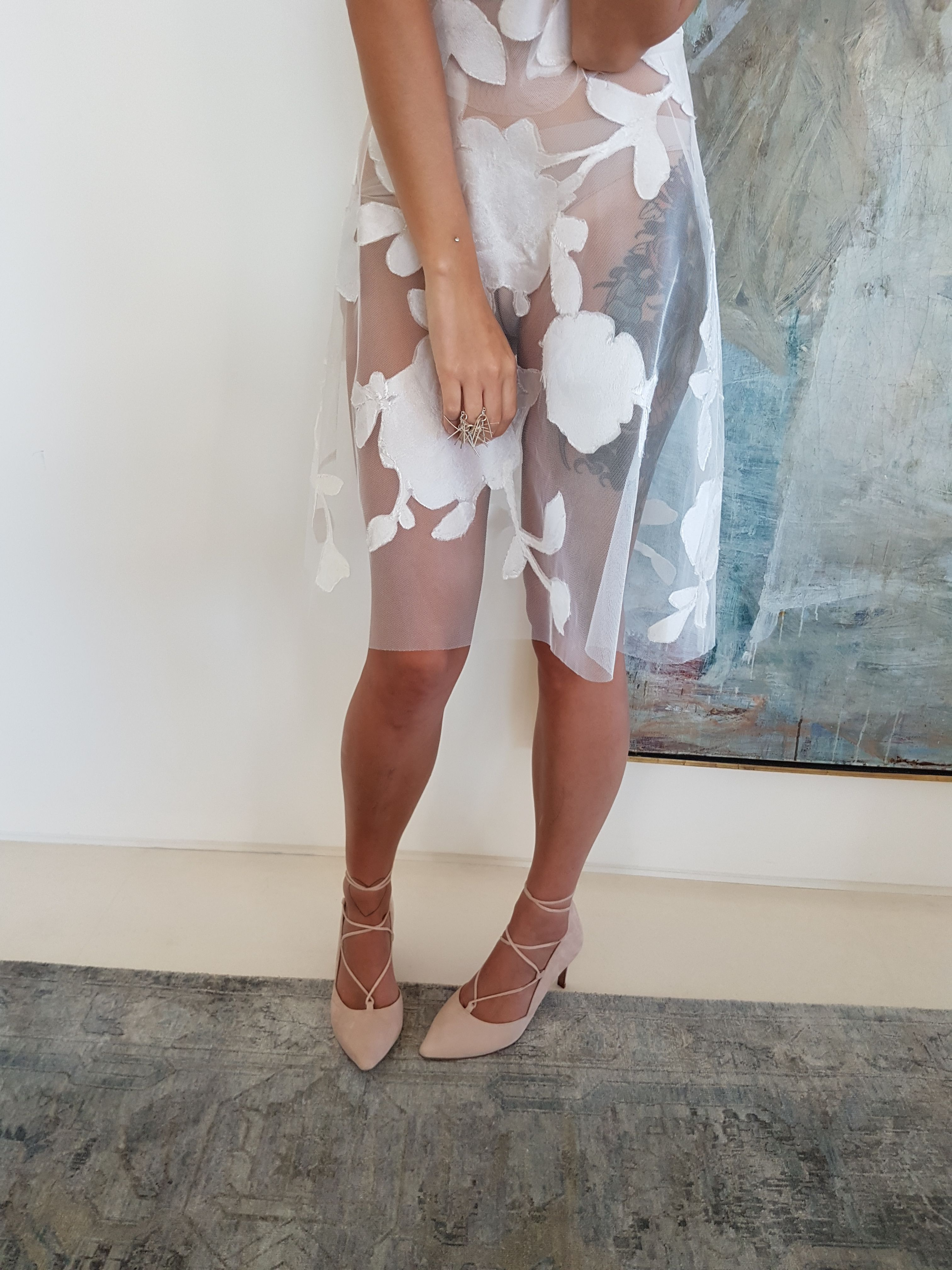 Lace Up Heel Pump In Nude Suede Wedding Shoes