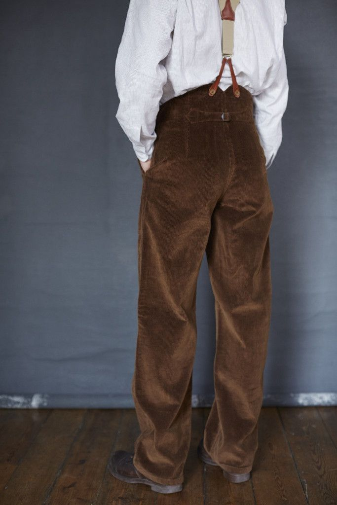 Old Town High Rise Trousers In Tan Corduroy Fashion