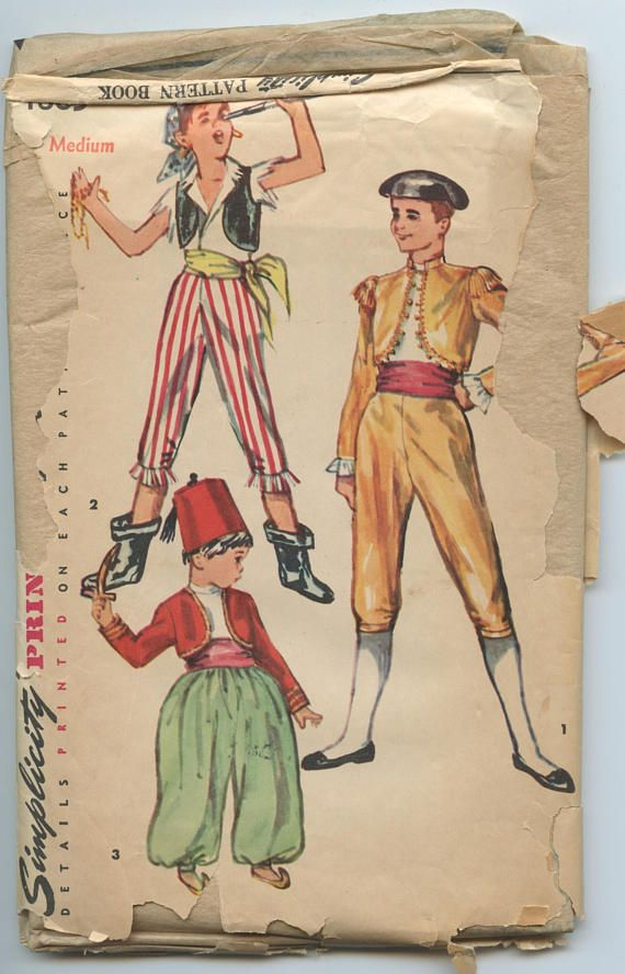 1950\'s Simplicity 4865 Boys\' Spanish, Pirate and Turkish Costume ...